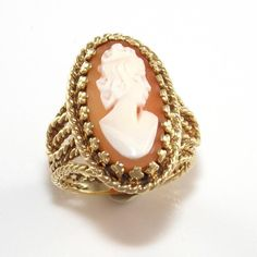 10K Yellow Gold Cameo Silhoutte Shell Vintage Pinky Child Ring Size 3.5  QR1 #Band