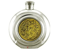 Round Hip Flask 6oz Pewter Brass Celtic Knot Design Round Disk by iLuv. $73.00. Round Hip Flask 6oz Pewter Brass Celtic Knot Design Round Disk. Round Hip Flask 6oz Pewter Brass Celtic Knot Design Round Disk Features * Striking Brass Celtic design. * Ideal for those cold days to share and enjoy a whisky nip. * Made in the UK from pewter and does not contain Lead. * Leak-proof screw top * Comes in gift box This beautiful Hip Flask in Pewter is manufactured to the highe...