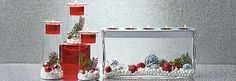 PartyLite Symmetry Trio and Customizable Tealight Centerpiece displayed for Christmas.
