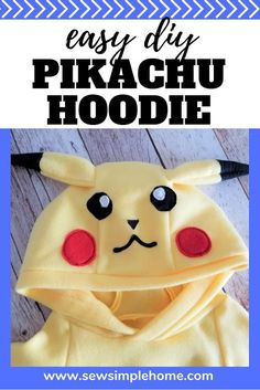 Make your own DIY Pikachu costume with this template and free sewing tutorial. Halloween Sewing, Fall Sewing, Cool Halloween Costumes, Sewing For Kids, Halloween Ideas, Haunted Halloween, Halloween Crafts, Halloween Decorations, Pikachu Costume Kids