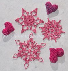 Three snowflakes all 3 1/2 inches or smaller out of size 10 thread and a 7 hook