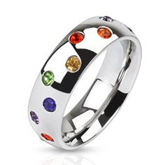 8mm Multi Paved Rainbow CZs Stainless Steel Dome Band Ring Gay Pride Band