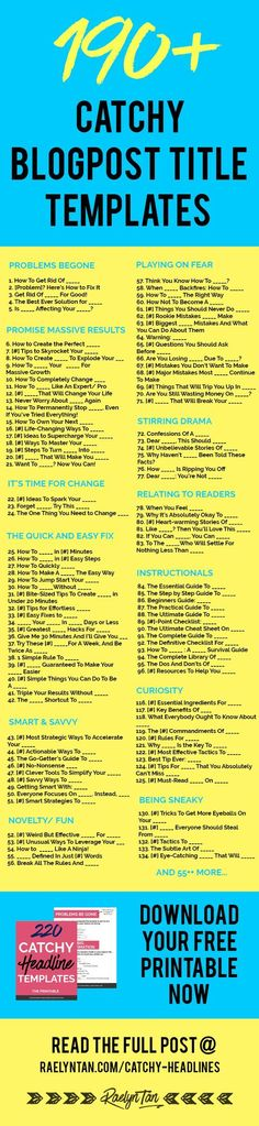 Struggle Writing Blog Post Titles? 190 Catchy Templates to Steal [Infographic]