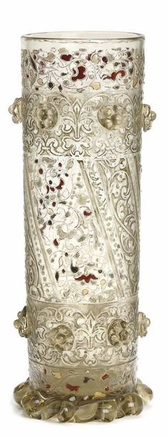 A FRENCH ETCHED AND ENAMELED GLASS VASE, GALLE, CIRCA 1895