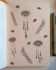 """Space Jellies"" by hook&eye  ink on paper  7.5"" x 5.25"" 2014"