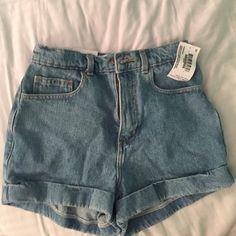 d688ef6029e31 American Apparel Denim High-Waist Cuff Shorts Medium   stone-washed Indigo  American Apparel