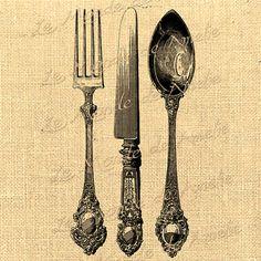 Table Vintage   knife spoon fork food kitchen vintage by JLeeloo2, $1.00