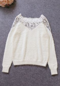 White Lace Mohair Top