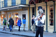 The Violinist Werewolf in the Street of New Orleans