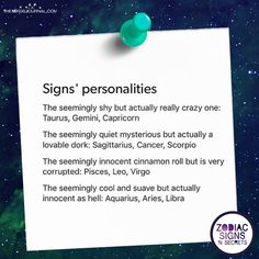 Signs' Personalities (The Minds Journal) Aries, Zodiac Signs Astrology, Zodiac Star Signs, Zodiac Horoscope, Aquarius, Zodiac Sign Traits, My Zodiac Sign, Zodiac Sign Fashion, Zodiac Posts