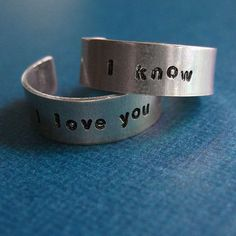 The Han Solo and Princess Leia Wedding Bands Come Straight from the Film #geek trendhunter.com