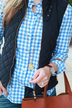 light blue gingham + navy quilted vest