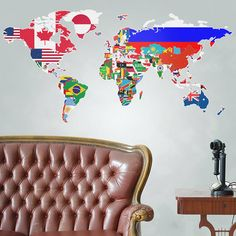 flags of the world map wall sticker by the binary box | notonthehighstreet.com