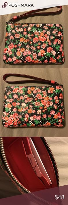 Coach pink floral wristlet Super cute pink floral coach wristlet. Black background with all over pink floral print, front & back. Pink strap & interior. Inside, two slit pockets on one side. Coach Bags Clutches & Wristlets