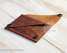 Leather wallet woman coin pocket wallet slim wallet minimal wallet brown genuine…