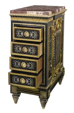 JOSEPH-ÉMMANUEL ZWIENER FL. CIRCA 1875-1900 A FINE GILT BRONZE, ENGRAVED PEWTER AND BRASS, AND FAUX TORTOISESHELL BOULLE STYLE MARQUETRY MOUNTED EBONY VENEERED MEUBLE À HAUTEUR D'APPUI FRANCE, CIRCA 1880
