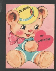 Vintage Valentines Day Card Bear big Pink bow & Heart Greetings