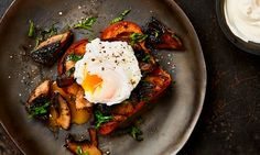 Yotam Ottolenghi's roast portobello mushrooms with brioche and poached egg, and other mushroom recipes Yotam Ottolenghi, Ottolenghi Recipes, Mushroom Recipes, Vegetable Recipes, Vegetarian Recipes, Cooking Recipes, Vegetarian Breakfast, Savory Breakfast, Vegetarian Cooking