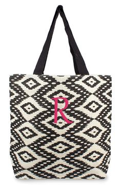 Women's Cathy's Concepts Personalized Ikat Jute Tote - Black