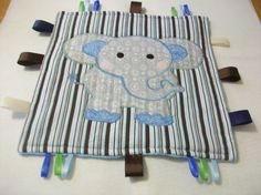 Baby Taggy Blanket Toy Elephant by PeaPodLilFrogs on Etsy, $20.00