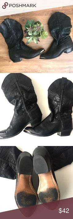 C a p e z i o . w e s t e r n . b o o t Capezio western boots. Black leather, steel curved toe tips, pull on, some sign of wear (minor scuffs, creased leather). Size 6. Medium width. 1 inch heel. Approx 11 inch shaft. Capezio Shoes Heeled Boots