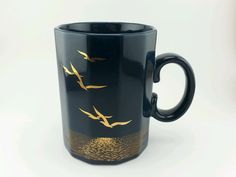 Vintage Collectible Otagiri  Sea Gull Mug Cup Navy Blue & Gold Design. 10oz.