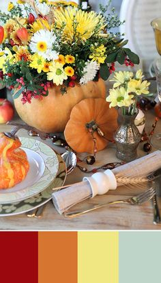 Celebrate the beauty of the season with a fun flower centerpiece, but instead of a regular vase use a carved out pumpkin! Keep autumn accents subtle, but fun! You can even add a bit of straw to each napkin holder for a special surprise! For more decor and