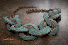 Souffle clay links - polymer clay necklace by syndee holt.