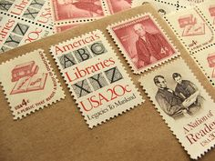 Black White Red All Over .. Library  .. UNused Vintage Postage Stamps  .. post 5 letters. $6.25, via Etsy.