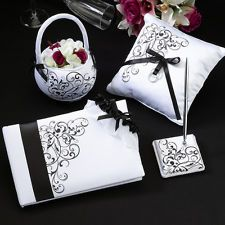 Black & White Scroll Wedding Reception Guest Book Pen Basket Pillow Garter Set