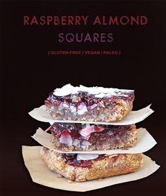Gluten-Free Vegan Raspberry Almond Squares {Paleo & Refined Sugar-Free too}   #GlutenFreeVeganLove