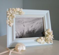 Beach Decor Shell Frame Nautical Decor by beachgrasscottage