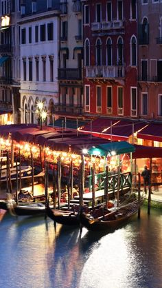 Grand Canal by night, Venice, Italy