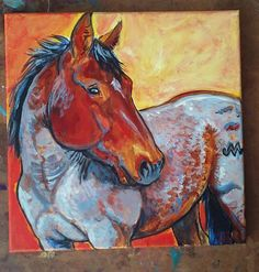 12 x 12 inch red roan horse custom painting