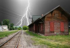 Lightning strikes near the closed railway station, Quebec by axiepics Weather Storm, Wild Weather, Mother Earth, Mother Nature, Fuerza Natural, Thunder And Lightning, Lightning Storms, Lightning Strikes, Thunderstorms