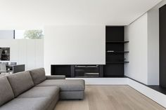 Agatha O I Home DW is a minimal house created by Belgium-based designer Francisca Hautekeete. Minimalist Interior, Modern Interior Design, Interior Architecture, Living Room Designs, Living Spaces, Home Theater Design, Minimal Home, Living Room Inspiration, Living Room Interior