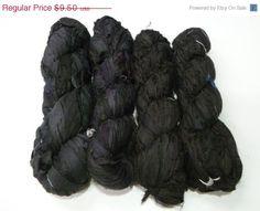 SALE Recycled Sari Silk Ribbon Black by SilkDivine on Etsy, $9.03