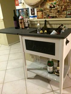 Vintage Sewing Table Re-purposed into a Beverage / Bar / Entertainment Center by SandraCycled on Etsy https://www.etsy.com/listing/235623083/vintage-sewing-table-re-purposed-into-a