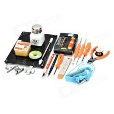 JAKEMY JM-1101 Screwdriver Soldering Repair Toolkit - Black + Orange. Color Orange + Black + Multi-Colored Model JM-1101 Quantity 1 Set Material CR-V steel + PP Screw Head Type Slotted,Phillips,Torx,Hex Screw Driver T3, T4, T5, T6, T7, T8, T9, T10, T15, T20; PH0, PH00, PH000, PH1; H1.3, H1.5, H3.0, H4.0; Slotted: 1.5, 2.5, 3.0; Triangular 2.3; Y1; U; Star: 1, 2 Packing List 1 x 27-in-1 screwdriver set 1 x Side pliers 1 x Carving knife 1 x Hook for soldering 1 x Brush for soldering 1 x…