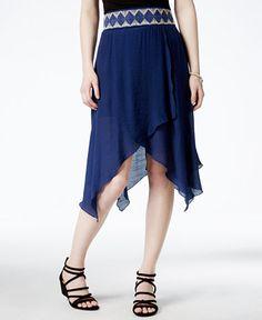 BCX Juniors' Crocheted-Trim Asymmetrical-Hem Skirt