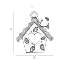 SILVER LK-0410 - SILVER BIRD FEEDER WITH HEART SIZE:A=14,50 mm; B=13,00 mm; C=1,20 mm, sterling silver (AG-925) Available options: AG 925 (18K- Rose Gold Plated) AG 925 (24K- Gold Plated) AG925 ( BRH- Black Rhodium Plated) AG 925 (RH- Rhodium Plated)