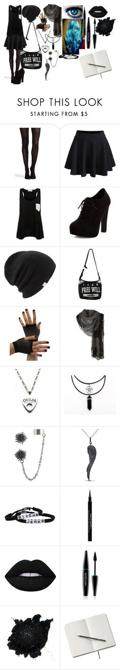 """""""outfit #32 (eyeless)"""" by lulu-dusk ❤ liked on Polyvore featuring SPANX, WithChic, Solid & Striped, New Look, Coal, Hot Topic, Faliero Sarti, Moonchild, bleu and Miadora"""
