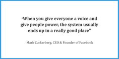 """""""When you give everyone a voice and you give people power, the system usually ends up in a really good place. Social Media Quotes, Power To The People, Read More, The Voice, Digital Marketing, Content, Rock, Facebook, Business"""