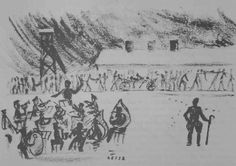 Figure 4. This drawing was made secretly in Birkenau by François Reisz. It shows the camp orchestra playing as work details returns to the c...
