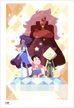 """slimu: """"Steven and the Homeworld Gems It was recently my one-year anniversary working on Steven Universe! The crew got invited to participate in a Cartoon Network Halloween exhibit and this was my piece. :> The recent string of. Steven Universe Comic, Jasper Steven Universe, Fandoms, Universe Art, Fan Art, Star Vs The Forces Of Evil, Cartoon Shows, Cool Cartoons, Lapis Lazuli Steven Universe"""