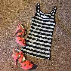 Last Chance! Donating Soon! Sequin striped tank. Grey and black striped sequins make this tank sparkle!  Stunning with a blazer and heels.  Only worn once. Show 'em some sparkle girl! Old Navy Tops Tank Tops