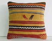 """16""""striped colorful turkish cushion throw pillow kilim pillow decorative pillow cover accent pillow outdoor floor sham bohemian tribal aztec"""