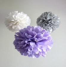 Lavender, Grey, & White poms - Color scheme Would love this for a baby nursery
