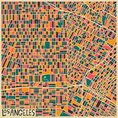 "Los Angeles (Downtown) by Jazzberry Blue ART PRINT / MEDIUM (17"" X 17"") $36.00   Size  ADD TO CART"