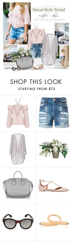 """Ruffle + Denim"" by thewondersoffashion ❤ liked on Polyvore featuring Who What Wear, Chanel, Philipp Plein, Cashmere Company, Allstate Floral, Givenchy, Aquazzura and Kenzo"